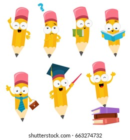 Cute Cartoon Pencil Character Set