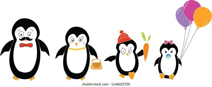 Cute cartoon penguin family set. Penguins children, and parents. Vector illustration