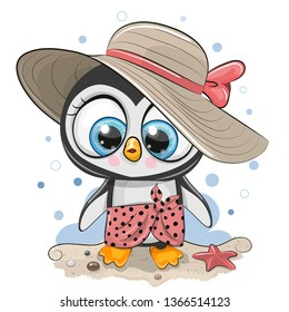 Cute Cartoon Penguin on the beach in a straw hat