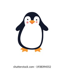 Cute cartoon penguin on a white background. Vector illustration.