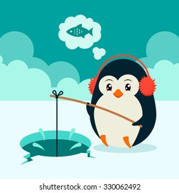 Cute Cartoon Penguin Sitting on Ice and Fishing. Colorful Vector Illustration