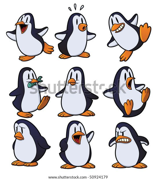 Cute cartoon penguins all in separate layers for easy editing.