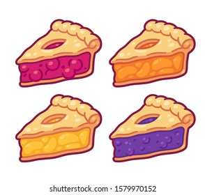 Cute cartoon pie slices set. Cherry, bleuberry, apple and peach pie drawing. Hand drawn slice of traditional American baked dessert. Isolated vector illustration.