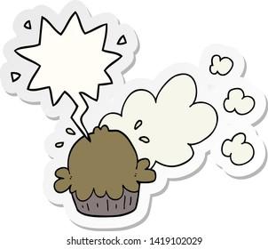 cute cartoon pie with speech bubble sticker