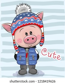 Cute Cartoon Pig boy in a blue hat and coat