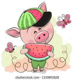 Cute Cartoon Pig in a cap with watermelon