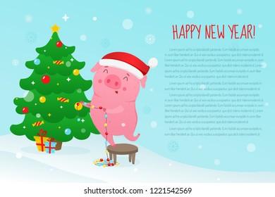 Cute cartoon pig decorates Christmas Tree . Symbol of 2019 new year. Vector illustration.