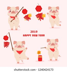 cute cartoon pig hold firecracker with 2019 happy new year
