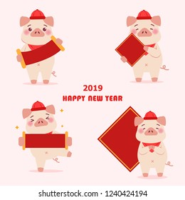 cute cartoon pig hold red spring festival couplets with 2019 happy new year