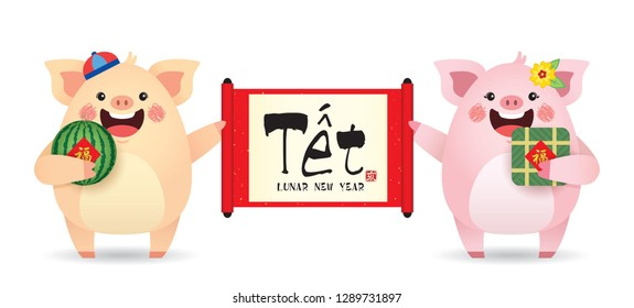 cute cartoon pig holding chinese scroll with watermelon & banh chung (rice cake) isolated on white background. (translation: vietnam lunar new year, 2019 year of the pig)