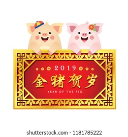 Cute cartoon pig holding golden vintage frame with chinese calligraphy isolated on white background. 2019 year of the pig vector illustration. (caption: golden pig celebrate new year)