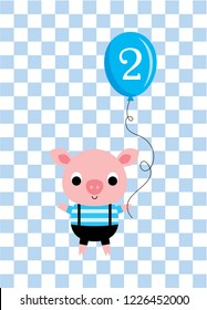 cute cartoon pig holds a balloon with number 2. cute pig 2nd birthday celebration vector.