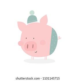 Cute cartoon pig illustration.