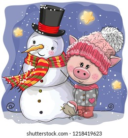 Cute Cartoon Pig in a knitted cap and snowman