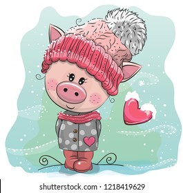 Cute Cartoon Pig in a pink knitted cap sits on a snow