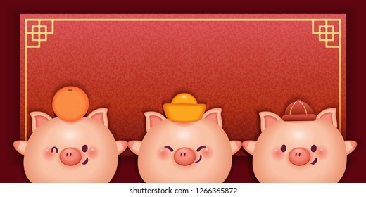 cute cartoon pig show red festival couplets - chinese new year concept