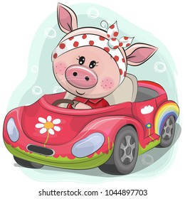 Cute Cartoon Piggy Girl goes on a pink car