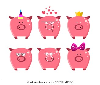 Cute cartoon  pigs set. Icons