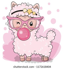 Cute Cartoon pink alpaca with bubble gum