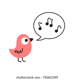 Cute Cartoon Pink Bird Singing with Music Notes in a Speach Bubble Vector Illustration on White Background