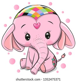 Cute Cartoon Pink Elephant isolated on a white background
