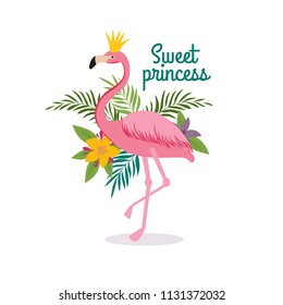 Cute cartoon pink flamingo queen with crown. Sweet dreams girly vector greeting card, fashion little princess t-shirt design. Illustration of exotic animal bird