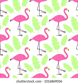 Cute cartoon pink flamingos and green tropical leaves isolated on white background. Vector seamless pattern can be used for posters, banners, t-shirt print, party invitaions, wrapping