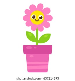 Cute Cartoon Pink Flower Smiling Face Stock Vector Royalty Free