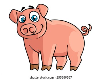 Cute cartoon pink pig with rounded snout, little brown hoofs and funny curly tail suitable for farm animals concept or agriculture design