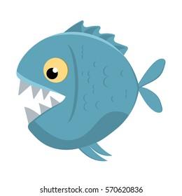 Cute cartoon piranha with sharp teeth. Vector illustration