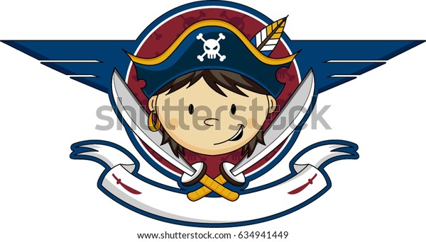 Cute Cartoon Pirate Captain