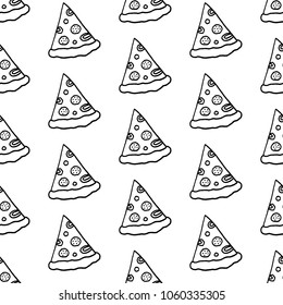 Cute cartoon pizza background with hand drawn pizza slices. Sweet vector black and white pizza background. Seamless monochrome doodle pizza background for fabric, wallpapers, wrapping paper and cards.