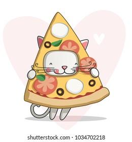 Cute cartoon pizza cat.