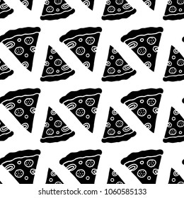 Cute cartoon pizza print with hand drawn pizza slices. Sweet vector black and white pizza print. Seamless monochrome doodle pizza print for fabric, wallpapers, wrapping paper, cards and web.
