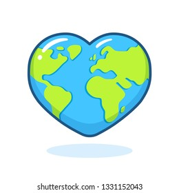 Cute cartoon planet Earth drawing in heart shape. Nature and ecology vector clip art illustration. Earth Day poster design element.