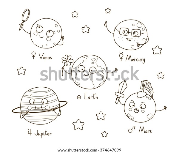 Cute Cartoon Planets Coloring Book Stock Vector (Royalty ...