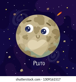 Cute cartoon Pluto  planet character. Space vector illustration