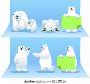 Cute cartoon polar bear in different poses . Vector illustration with simple gradients.