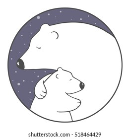 cute cartoon polar bear mom hugs her baby.animal family. children's illustration or design for new year or mother's day card