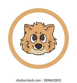 Cute cartoon Pomeranian face in circle puppy vector clipart. Pedigree kennel doggie breed for kennel club. Purebred domestic dog training for pet parlor. Illustration mascot. Isolated canine.