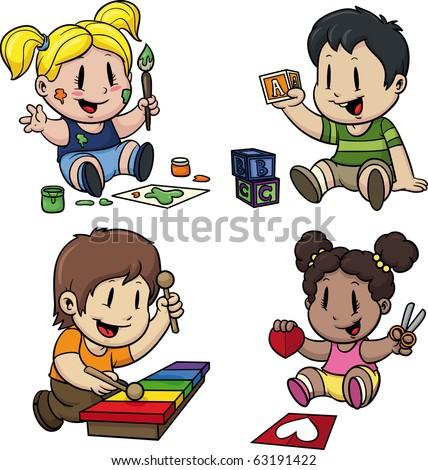 Cute Cartoon Preschool Kids All In Separate Layers For Easy Editing