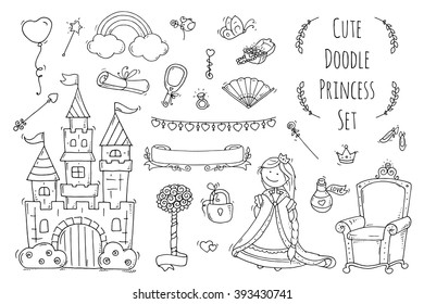 Cute cartoon princess collection with throne, castle, jewelry, crown. Doodle fairytale set for kids. Hand drawn vector illustration isolated on white. All objects are grouped separately.