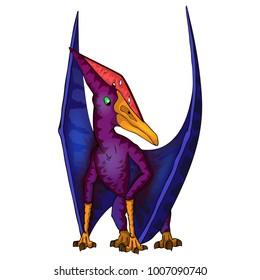 Cute cartoon pteranodon. Isolated illustration of a cartoon dinosaur.