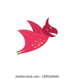 Cute cartoon pterodactyl flying and smiling, pink dinosaur with wings from jurassic period as hand drawn funny character, prehistoric animal isolated on white background, vector illustration