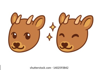 Cute cartoon Pudu face, small South American deer. Kawaii deer head vector illustration.
