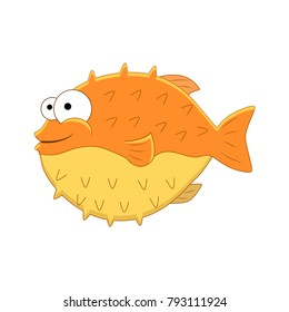 Cute cartoon puffer fish. Vector illustration  isolated on white background.