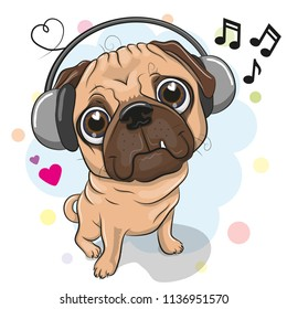 Cute cartoon Pug Dog with headphones on a white background