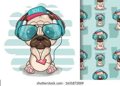 Cute cartoon Pug Dog with headphones on a white background. Can be used for kids/babies shirt design, fashion print design,t-shirt, kids wear,textile design,celebration card/ greeting card, vector
