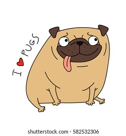cute cartoon pug. funny dog. vector illustration