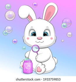 Cute cartoon rabbit blowing bubbles. Vector illustration of animal on the colorful background.
